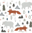 seamless childish forest pattern with bear and fox vector image vector image