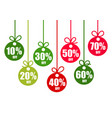 set discount tags 10203040506070 percent vector image