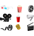 Set of detailed movie icons vector image vector image