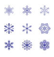 Set of nine snowflake flat icons 2 vector image vector image