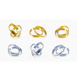 set silver and golden wedding rings realistic vector image vector image