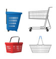 shopping cart realistic grocery bag for retail vector image