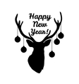 Sillhouette of deer head with christmas tree toys vector image