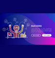 success concept smiling man with hands raised vector image vector image