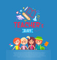 teachers day blue placard vector image vector image