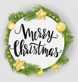 template with christmas wreath decorated with vector image
