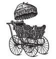 vintage baby stroller vector image vector image