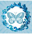 Water frame with butterfly vector image vector image