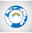 weather forecast globe rainbow cloud icon graphic vector image vector image