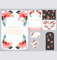 wedding card and tag tropical flower border vector image