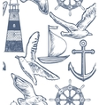 white seamless maritime background vector image