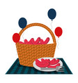 wicker basket sausages balloons vector image