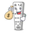 with money bag character remote control for media vector image