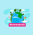 world health day with earth on background medicine vector image
