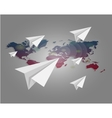 World map with paper planes background vector image