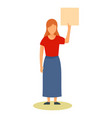 young woman with banner icon flat style vector image