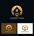 house pet dog gold logo vector image