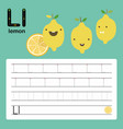 alphabet l worksheet learning english vocabulary vector image vector image