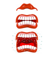 Angry lips emotions Aggressive with mouth Cheering vector image