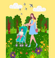 bain stroller and mother walking in green park vector image vector image