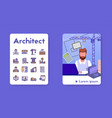 banner architect with linear icons set vector image