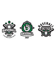 baseball championship logo design set tournament vector image vector image