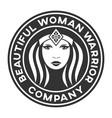 beautiful warrior woman logo vector image vector image