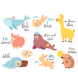 big set funny cartoon animals vector image