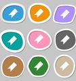 bookmark icon symbols Multicolored paper stickers vector image