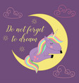 card with unicorn on the moon vector image vector image