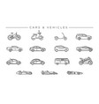 cars and vehicles concept line style icons vector image vector image