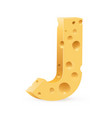 cheese font j letter on white vector image vector image