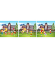 Children playing at the school ground vector image vector image