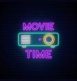 cinema projection unit neon sign glowing neon vector image vector image