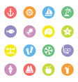 colorful flat icon set 9 on circle vector image vector image