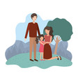 couple of parents with daughter in landscape vector image vector image