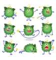 Cute cartoon monster in different poses vector image vector image