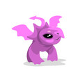 cute cartoon pink baby dragon funny fantasy vector image vector image
