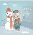 cute lovely cartoon pig with snowman vector image vector image
