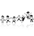 doodle happy kids in a row vector image