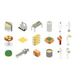 factory cheese production line element set and vector image vector image