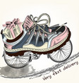 fashion background with sports boots on a bike vector image vector image