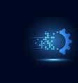 futuristic blue gear digital transformation vector image vector image
