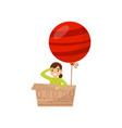 girl sitting in cardboard box with bright red vector image vector image