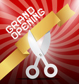 Grand Opening Silver Scissors Cutting Gold Ribbon vector image vector image