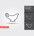 gravy boat line icon with editable stroke with vector image vector image