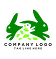 green rabbit logo leaf consumption rabbits vector image