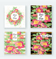 greeting cards with flower rose wreath leaves vector image vector image