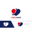heart logo combination love care logotype design vector image