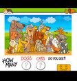 how many dogs and cats counting game vector image vector image